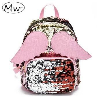 Mochila con alas de dibujos animados de madera y lentejuelas para niños y niñas, bolso de hombro, Mochila pequeña bolsa de viaje para mujer