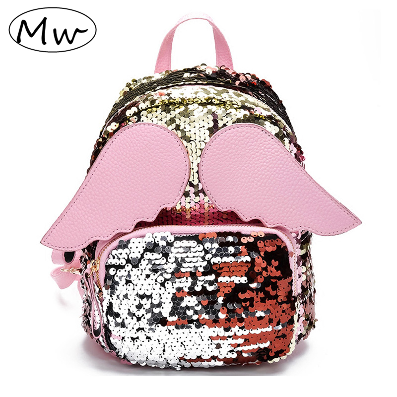 Moon Wood Cartoon Wings Sequins Backpack Children Girls School Bag Shoulder Bag Women Mini Travel Backpack Little Bag Rucksack