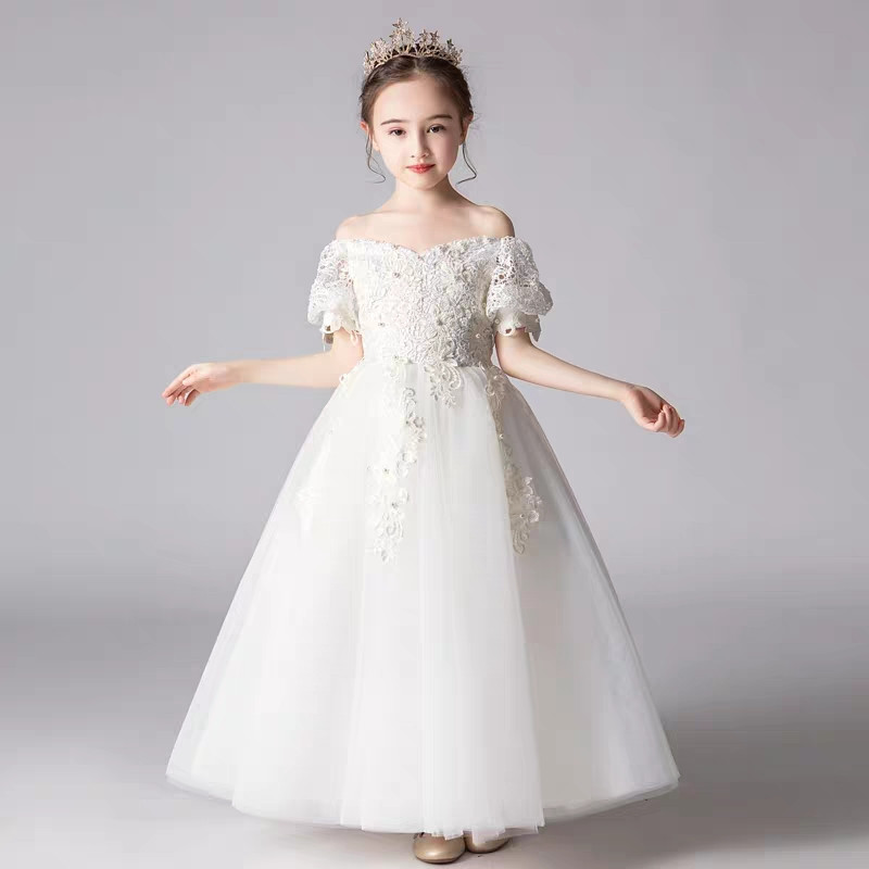 2019 Summer Luxury Children Girls White Black Ball Gown Princess Lace Dress Kids Birthday Party Evening