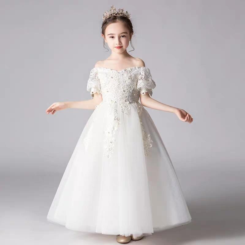 2019 Summer Luxury Children Girls White/Black Ball Gown Princess Lace Dress Kids Birthday Party Evening Sleeveless Prom Dresses