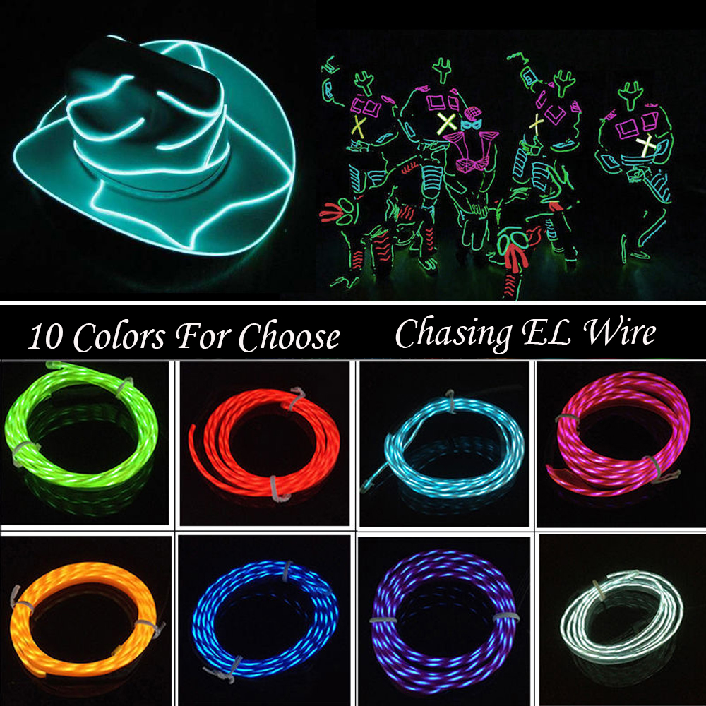 1m led chasing el wire rope tube neon light with connector inverter using battery for car. Black Bedroom Furniture Sets. Home Design Ideas