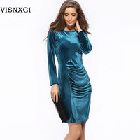 Hot Sale New 2016 Fashion Women Spring Dress Pure Color Soft Casual Dresses Long Sleeve Summer