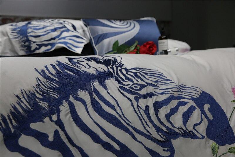 2017 Nuovo 100% Cotone Egiziano Ricamato Biancheria Da Letto zebra set 4 Pz queen king size lenzuolo set Pillow shams - 2