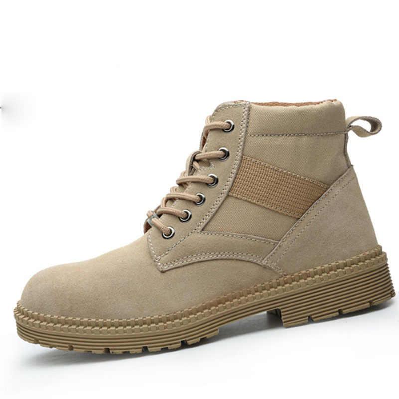 Mode Mannen Woestijn Tactische Militaire Laarzen Heren Werk Safty Schoenen Leger Laarzen winter Zapatos Lace-up Stalen Neus Combat enkellaarsjes