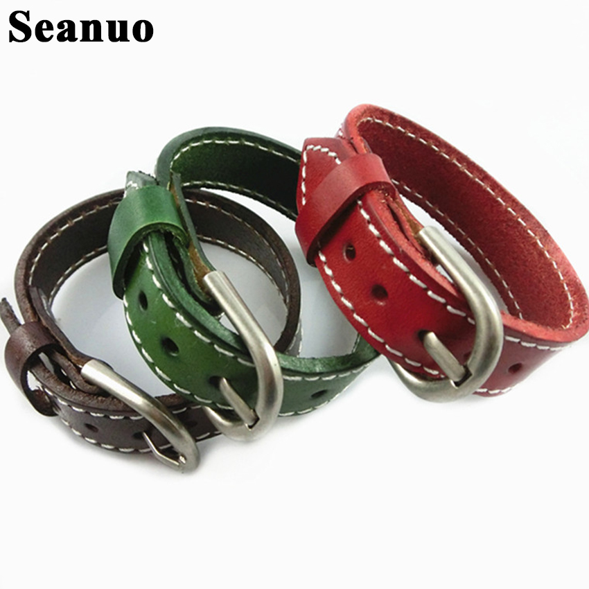 Seanuo 26CM Unisex Men Leather Belt Bracelets & Bangles Adjustable Women Real Leather Wrist cuff Buckle Bracelet Punk Jewelry