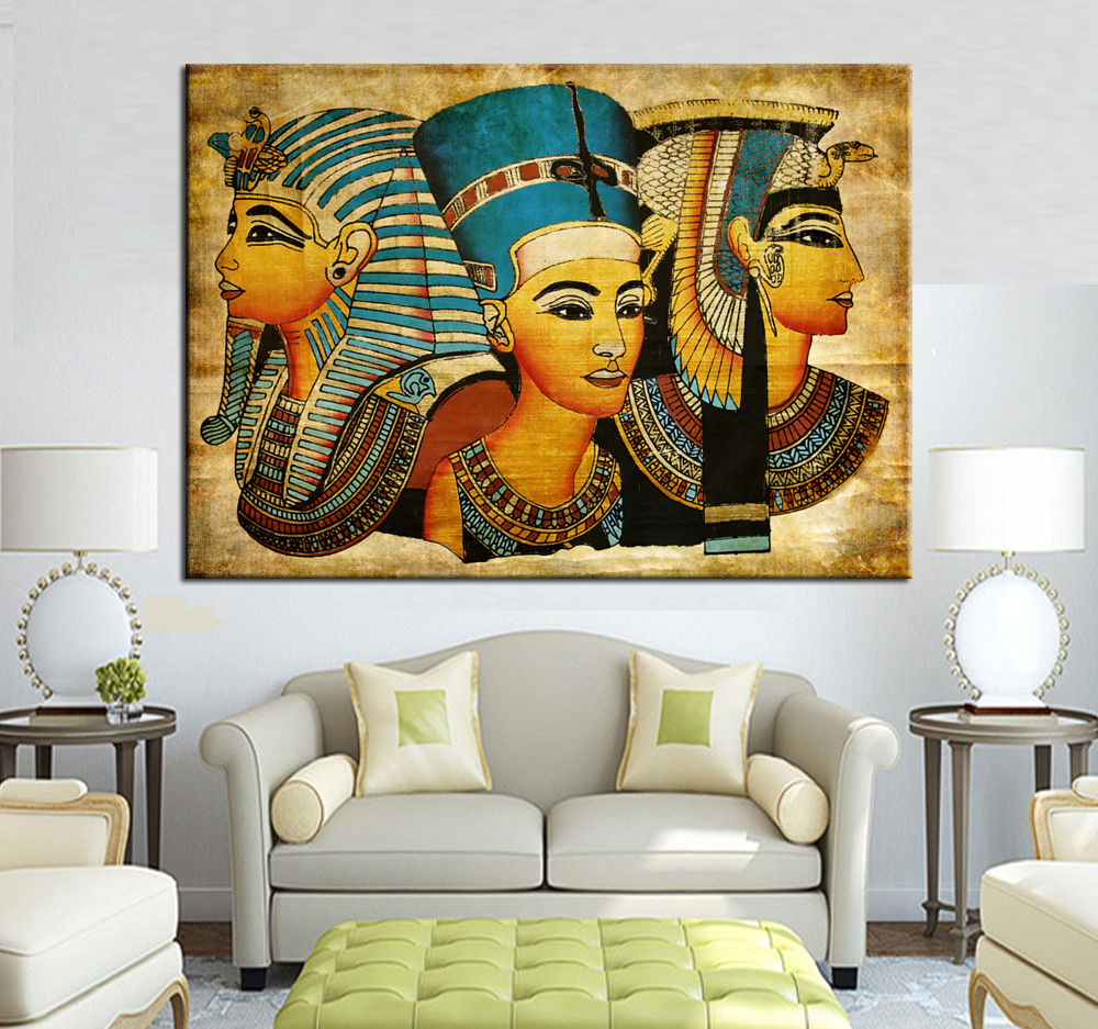 Large wall art canvas pharaoh of egyptian home decoration for Art painting for home decoration