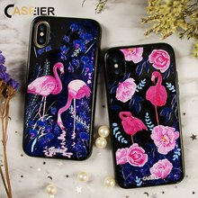CASEIER Phone Case For iPhone 6 6s 7 8 Plus Liquid Glitter Dynamic Sand Cases For iPhone X 3D Relief Quicksand Coque Capa Shell(China)