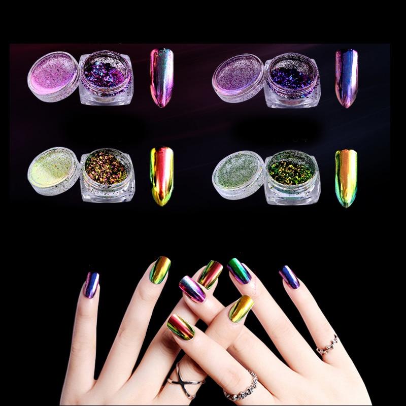 1 Caja 0.2g Chameleon Pigmento Nail Glitter Powder Polvo Espejo Vtirka Nuevo DIY Nail Art Beauty Nail Art Pigmento decoraciones