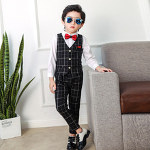 2019 Spring Boy Blazers and Suit (Vest+Shirt+Pant) Kids Formal Suits Wedding Suits for Boys Suits Formal Tuxedo Children Suit недорого