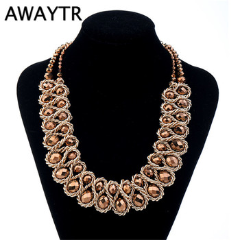 AWAYTR Exaggeration Necklace Fashion Women Vintage Chain Three Layers Beaded Crystal