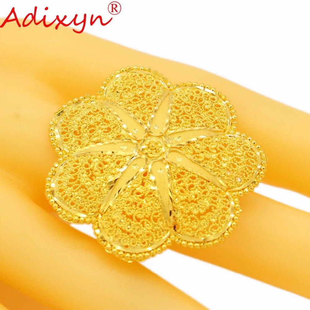 Adixyn mode largeur bague en or pour femmes couleur or inde bandes de mariage anneau accessoires de fête N04086