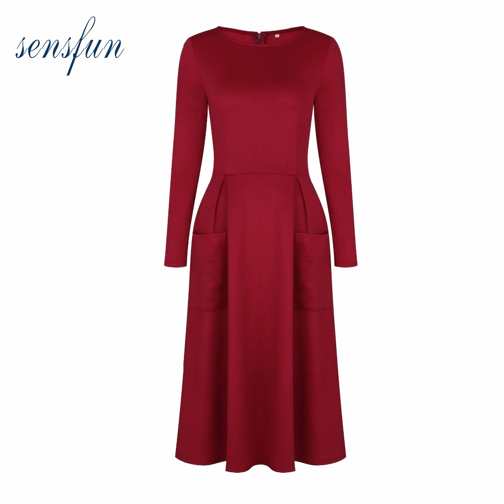 Sensfun Autumn Winter Dress Women Cotton Audrey Hepburn Robe Retro Rockabilly Dress Vintage Dress Vestidos Retra Party Dresses