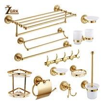 ZGRK Bathroom Accessories Bath Hardware Set Golden Color Toilet Paper Holder Towel Rack Tissue Holder Roll Paper Holder стоимость