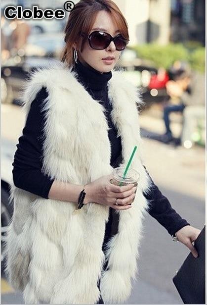 aaeada92d Plus Size White/Black Faux Fur Vest Sleeveless Fur Coat Colete De .