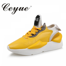 Ceyue New Women Walking Shoes Sneakers Height Increasing Lifestyle Shoes Simple Yellow Black White Wild Shoes Young Female Shoes