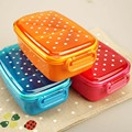 The Whole Network Lowest Cute Japanese Polka Dot Microwavable Plastic Baby Food Storage Case Lunch Box With Separators