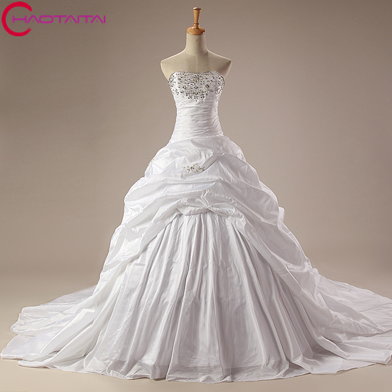 White Ball Gown Floor Length Taffeta Wedding Dress For