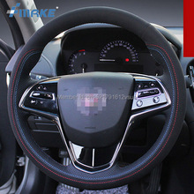 For Cadillac ATS High Quality Hand-stitched Anti-Slip Black Leather Suede Red Blue Thread DIY Steering Wheel Cover