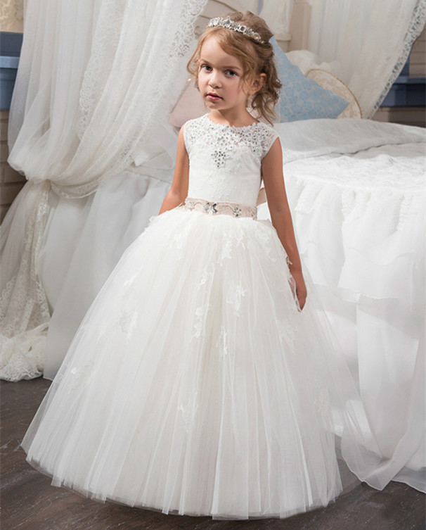 Lace Flower Girl Dresses Beading Ball Gown Sleeveless Lace Up First Communion Gown Custom White/Ivory white sleeveless mesh and lace overlay details playsuit