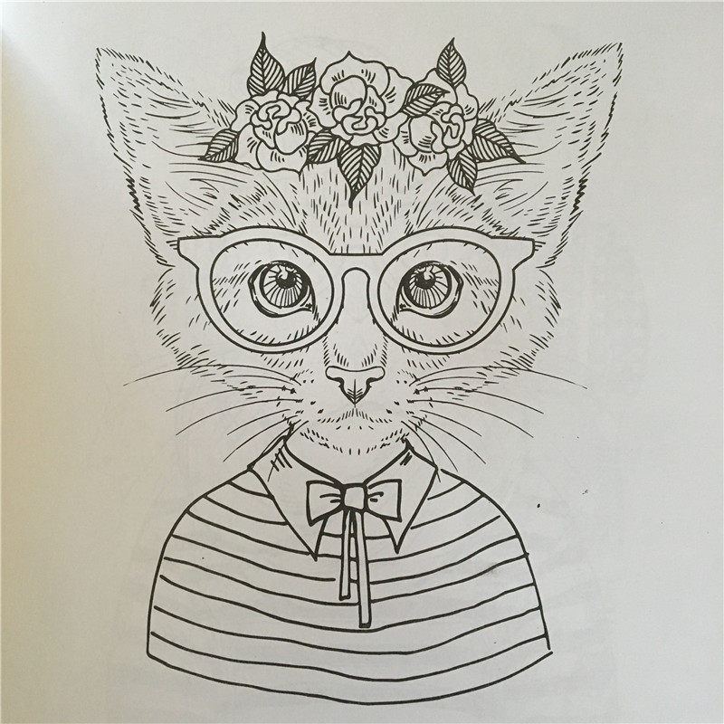 24 Pages Cat Park Coloring Book For Adult Secret Garden Styles Art Children Relieve Stress Painting Drawing Books In From Office School