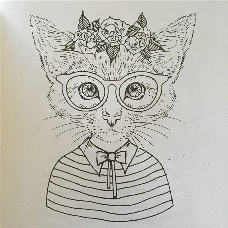 24 páginas Parque gato libro para colorear para adultos estilos de ...