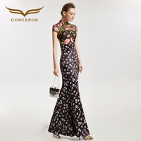CONIEFOX 31858 mermaid Improved cheongsam sexy Ladies Retro elegance embroider prom dresses party evening dress gown long 2017