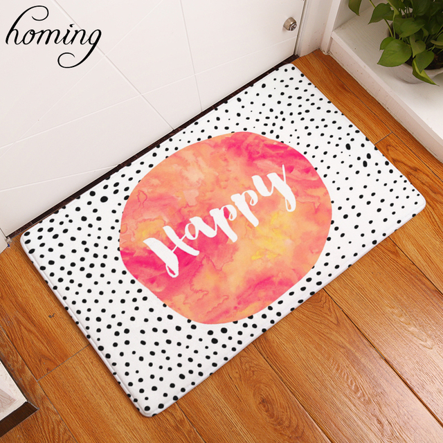Homing Welcome Home Hallway Door Mats Happy Character Words Rugs Water  Absorption Modern Kitchen Floor Mats