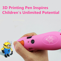 Low Temperature 3d Print Pen Wireless 3d Pen Low Temperature Display Lamp 6Color PCL Filament 3D