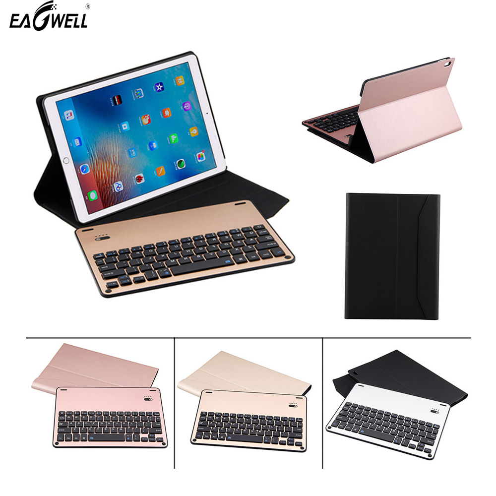 цена на New Removable Aluminum alloy Bluetooth Keyboard + PU Leather Case For Apple iPad Pro 10.5 inch Fashion Solid Bluetooth Keyboard