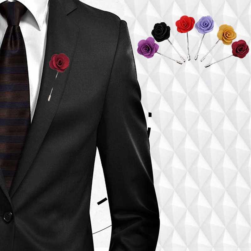 1 個高品質椿の花ラペルピンブローチ手作り花のブローチ男性ファッション結婚式ブートニア