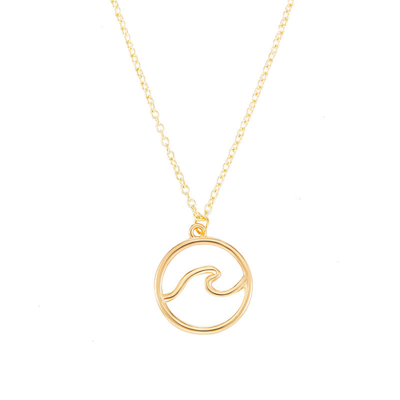 TANGYIN 2018 New Charm Women Necklace Gold Silver Wave Pendant Surf Beach Resort Ocean Choker Necklaces for Women Love Jewelry