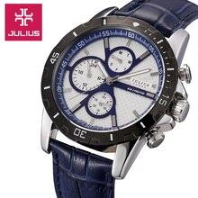 Top homem homme julius relógio de pulso de quartzo de japão moda vestido horas pulseira de couro esporte data auto escola menino pai presente