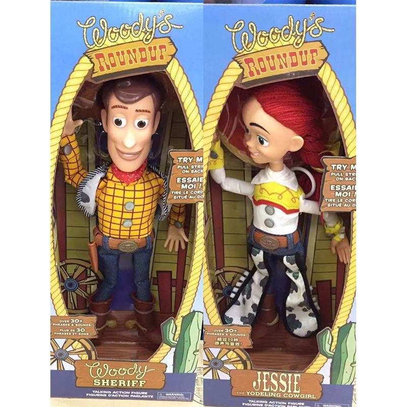 2 uds 43cm juguete historia 3 hablando Woody Jessie y modelo de figuras de acción juguetes de regalo de Navidad los niños colección DollFree envío