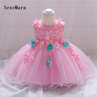 Pink Newborn Baby Girls Baptism Dresses for 3 6 12 18 24 Month 1 2 Year Birthday Dress Princess Christmas Dress with Bow