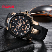 Splendid 2016 Newest KANISHI Famous Brand Gold Men Dress Watch Quartz Luxury Stainless Steel Sport Mens