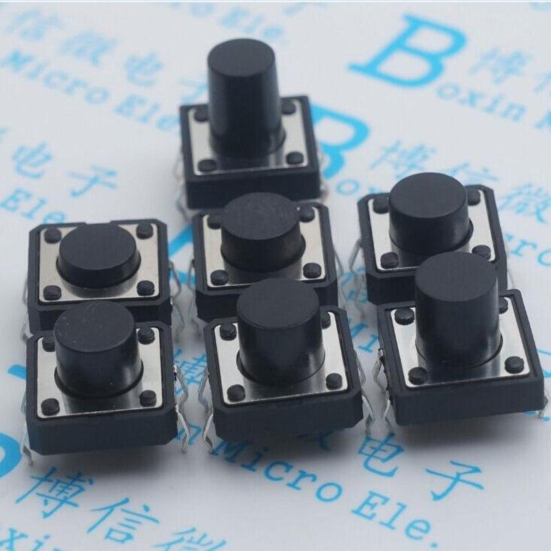 100 pièces 12*12*7 bouton interrupteur 12X12 haute 7 Mm Pin quatre pieds livraison gratuite