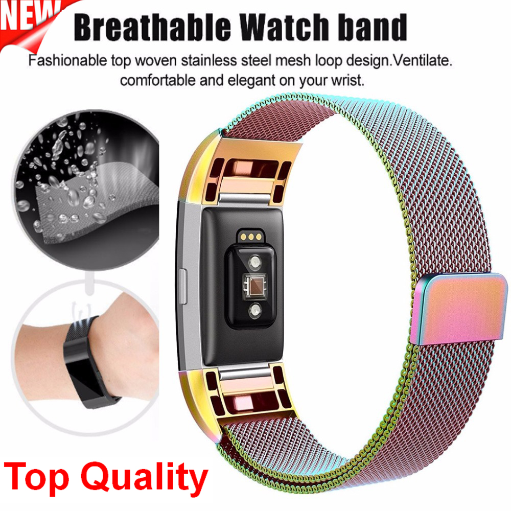 for fitbit charge 2 bracelet replacement band magnetic milanese loop metal band for fitbit. Black Bedroom Furniture Sets. Home Design Ideas