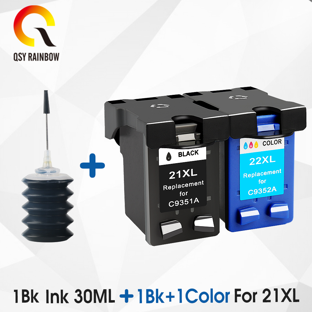 QSYRAINBOW replacement ink <font><b>cartridge</b></font> For <font><b>HP</b></font> <font><b>21</b></font> <font><b>22</b></font> for <font><b>HP</b></font> 21xL 22XL Deskjet F380 F2280 3910 3915 3918 3920 3940 D1530 image