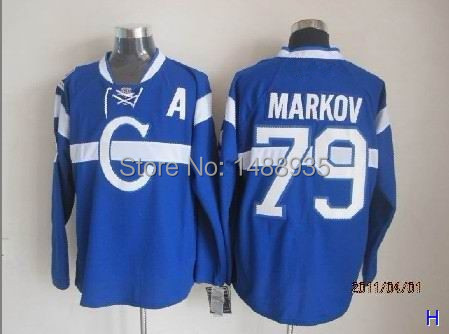 Free Shipping Montreal Canadiens Jerseys  79 Andrei Markov Blue Red Ice  Hockey Jersey 1ff6b191865