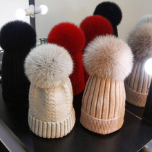 Fashion New Fox Fur Mink Pompoms 15cm Skullies Beanies Hats For Women Children Winter Solid Wool Warm Skullies Beanies Hats kids winter hats 2017 new real fox fur pompoms knitted beanies hat for children boys girls solid color skullies