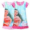 2 Colores de la Nueva Historieta Moana Princesa 100% algodón niños vestidos para niñas volantes de manga corta camisón H602