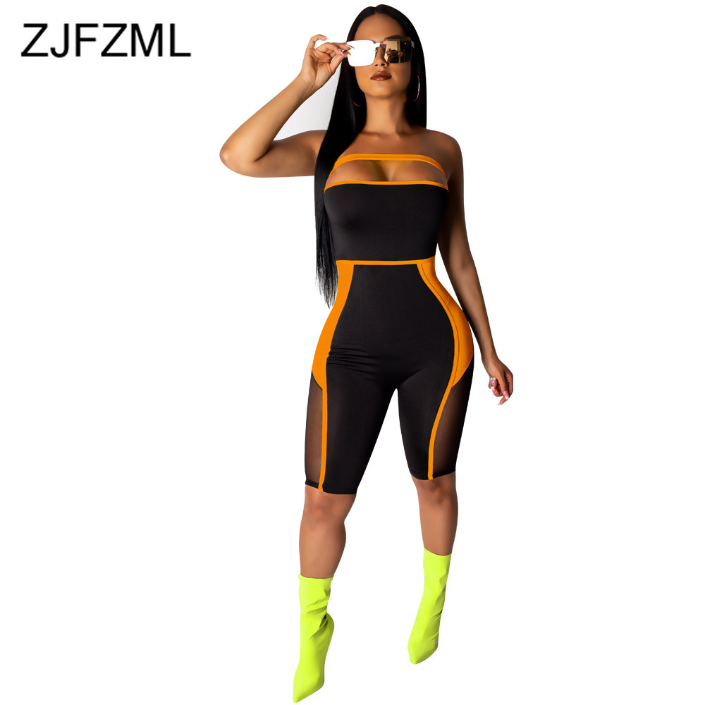 Contrast Color Rompers Womens   Jumpsuit   Mesh Patchwork Sleeveless See Through Playsuit Casual Strapless Open Back Bodycon Overall