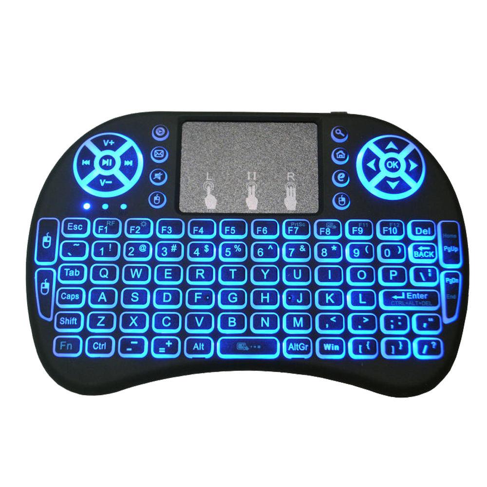 10 Pcs I8 Keybard Mini Draadloze Toetsenbord 2.4g Air Mouse Engels Russisch 7 Kleur Met Touchpad Afstandsbediening Android Tv Box 8.1 Sterke Verpakking