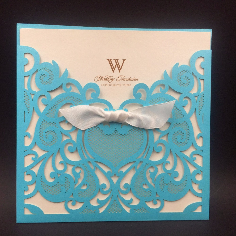 12pcs wedding invitations cards romantic party cards pocket laser cut wedding invitations