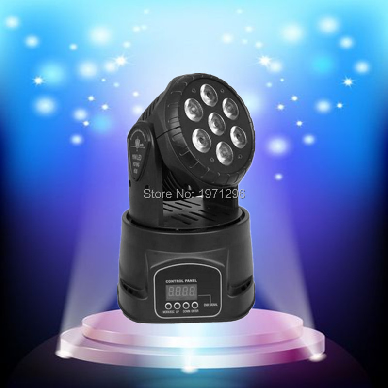 ФОТО 20pieces/lot LED moving head mini wash 7x12w rgbw quad with advanced 14 channels  DJ Disco Party Stage Effect Lighting