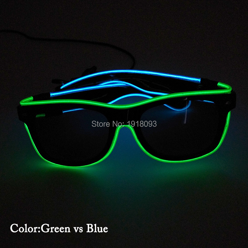 LED neon Light Double Colors EL Wire Glow Glasses with dark lens Fashion Holiday Lighting Decorative Props with Steady on Driver