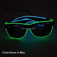 Led neon light двойной цвета EL провода светятся очки с темными объектива Праздник моды освещения декоративные реквизит с устойчивым на драйвер