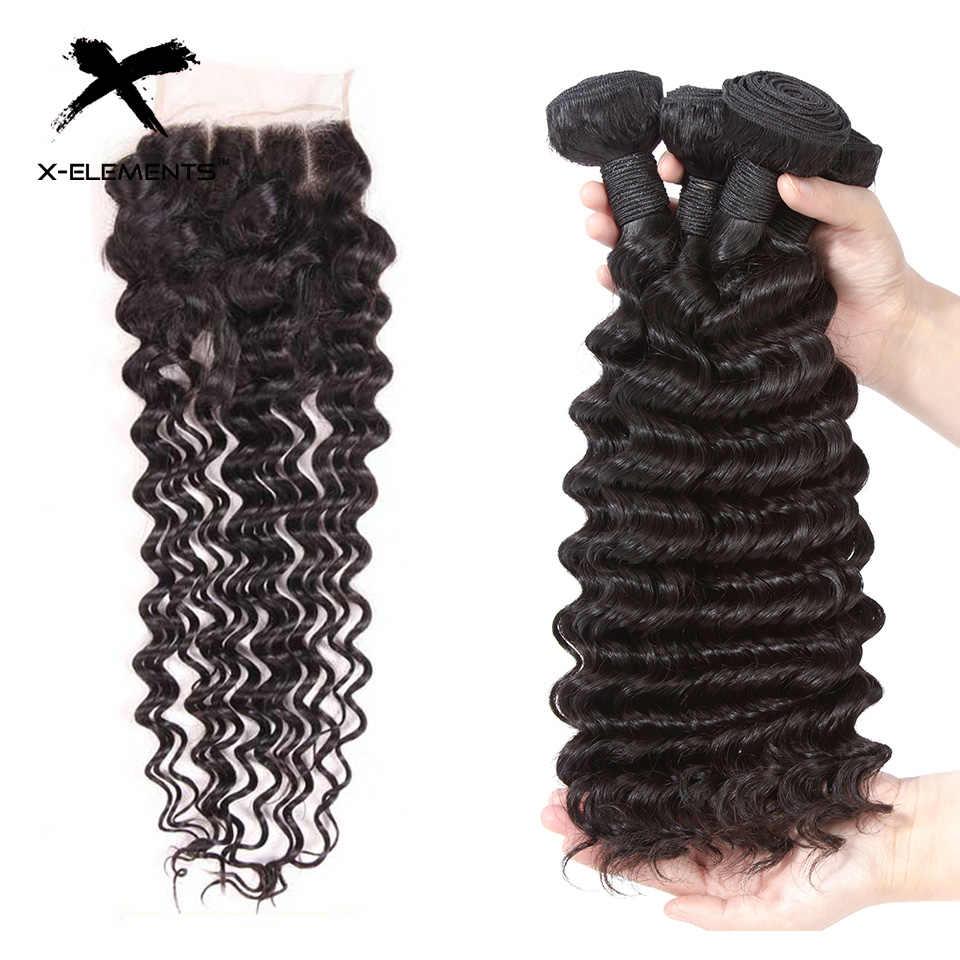 Бразильские пучки глубоких волн с закрытием 100% человеческих волос для наращивания с закрытием не Реми 3 пучка с закрытием X-Elements волос