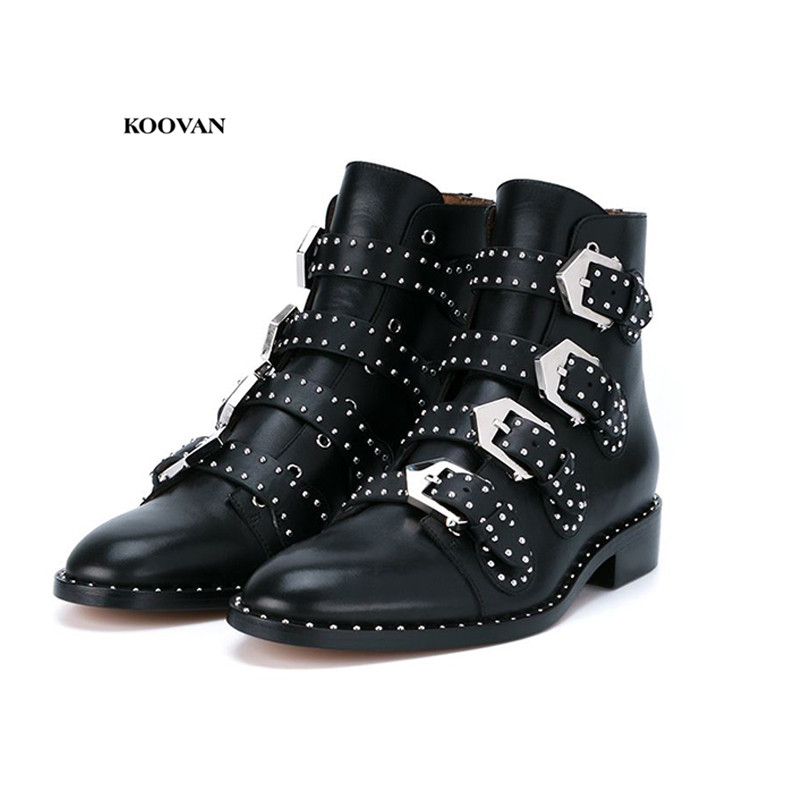 Koovan Women Leather Boots 2018 New Female British Students Short Boots Women s Shoes Single Shoes