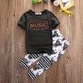Bebê Das Meninas Dos Meninos T Shirt Tops Calças Compridas Calças Macacão Roupa Dos Miúdos Conjunto de Roupas